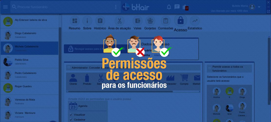 Permissões de acesso para os funcionários